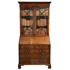 Mahogany Slant Front Bureau Glazed Bookcase