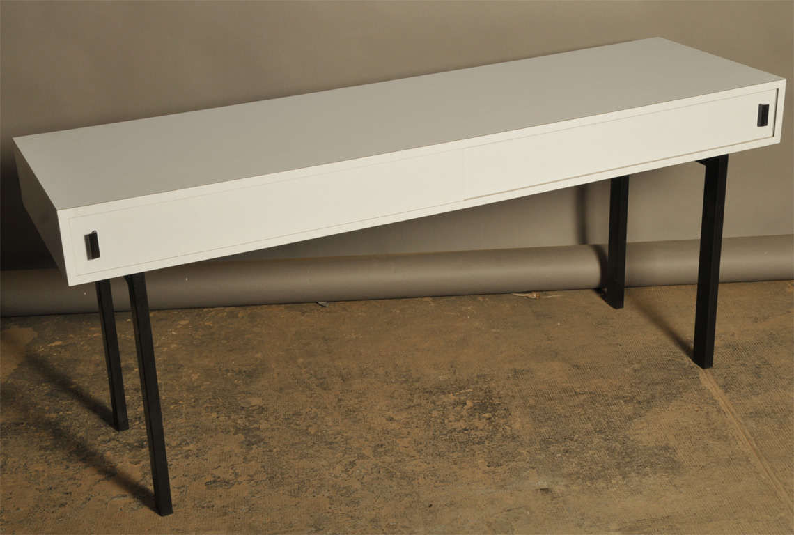 French Work Console in Grey Laminated with Two Doors, circa 1960 2