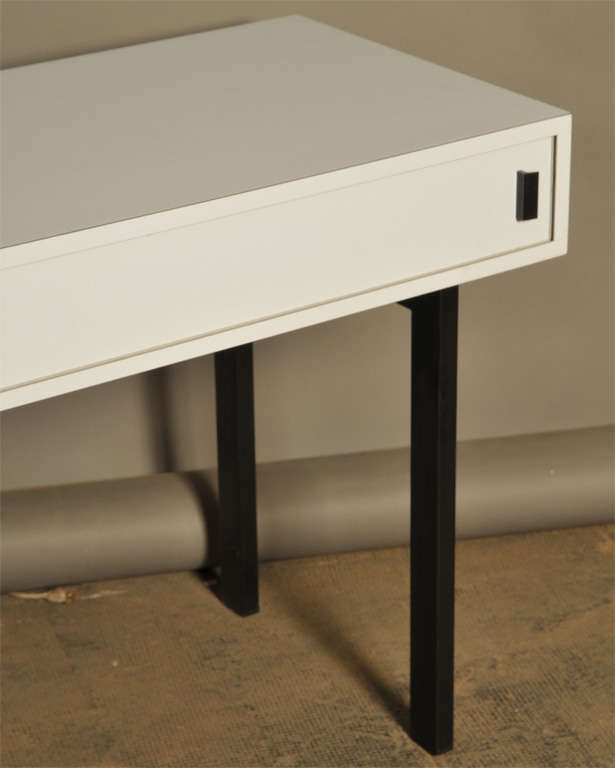 French Work Console in Grey Laminated with Two Doors, circa 1960 3