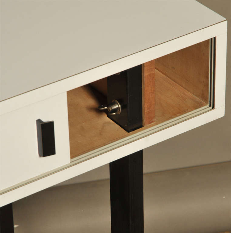 French Work Console in Grey Laminated with Two Doors, circa 1960 4