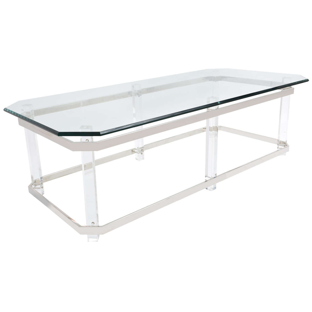 Acrylic Chrome Coffee Table: Rectangular Lucite And Chrome Cocktail Table, Charles