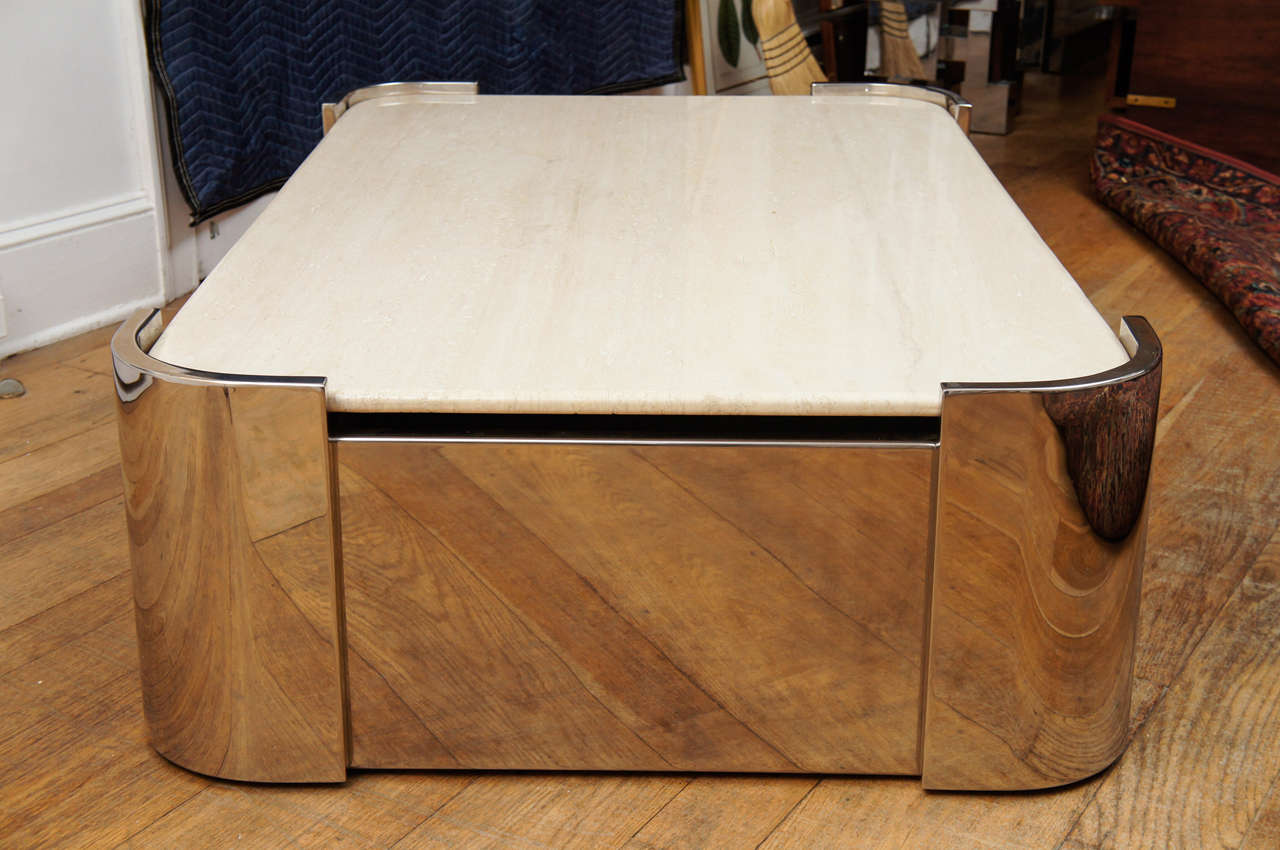 20th Century Mid Century Pace Collection Steel & Travertine Cocktail Table For Sale