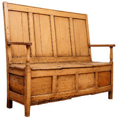 English Pine Settle with Lift Seat