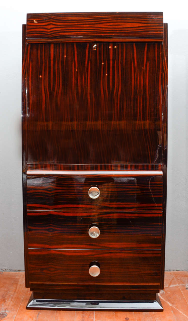 1930 39 s art deco secretaire in macassar image 2. Black Bedroom Furniture Sets. Home Design Ideas