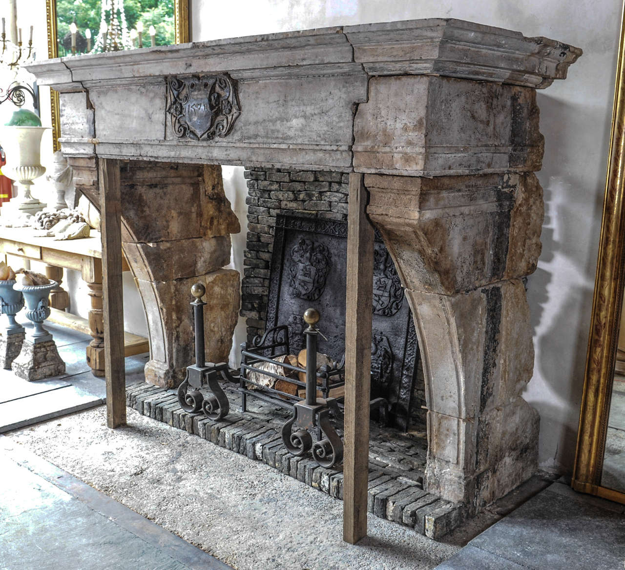 spectacular 16th century french castle fireplace from hard french