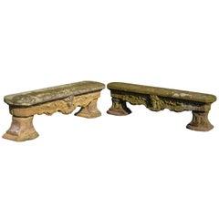 A pair of 18th century Dutch Régence sandstone garden benches, circa 1730