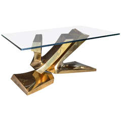 Sculptural Brass Cocktail Table by Alain Lantero