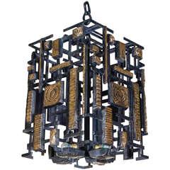 Huge Lantern in Solid Bronze by Regis Royant
