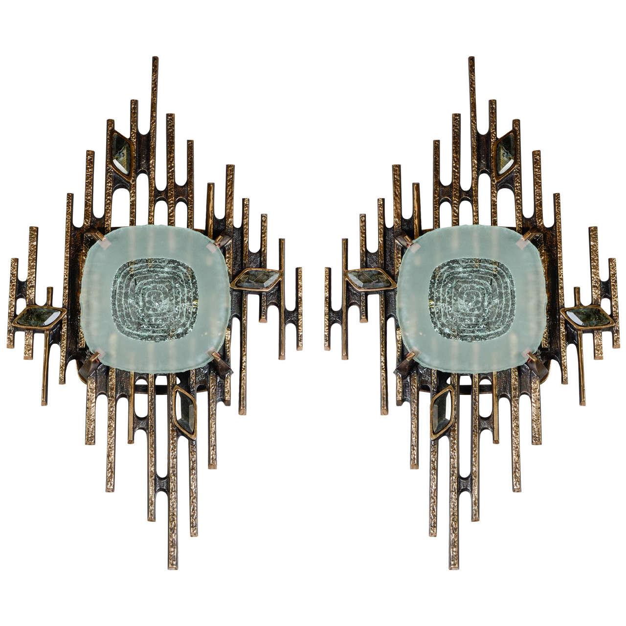 Huge Pair of Sconces Designed by Régis Royant