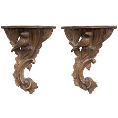 Pair of Gilt Wood Brackets
