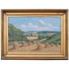 """Oil on Canvas """"Countryside in Jutland"""" Signed V. Jespersen, 1930s, Denmark"""