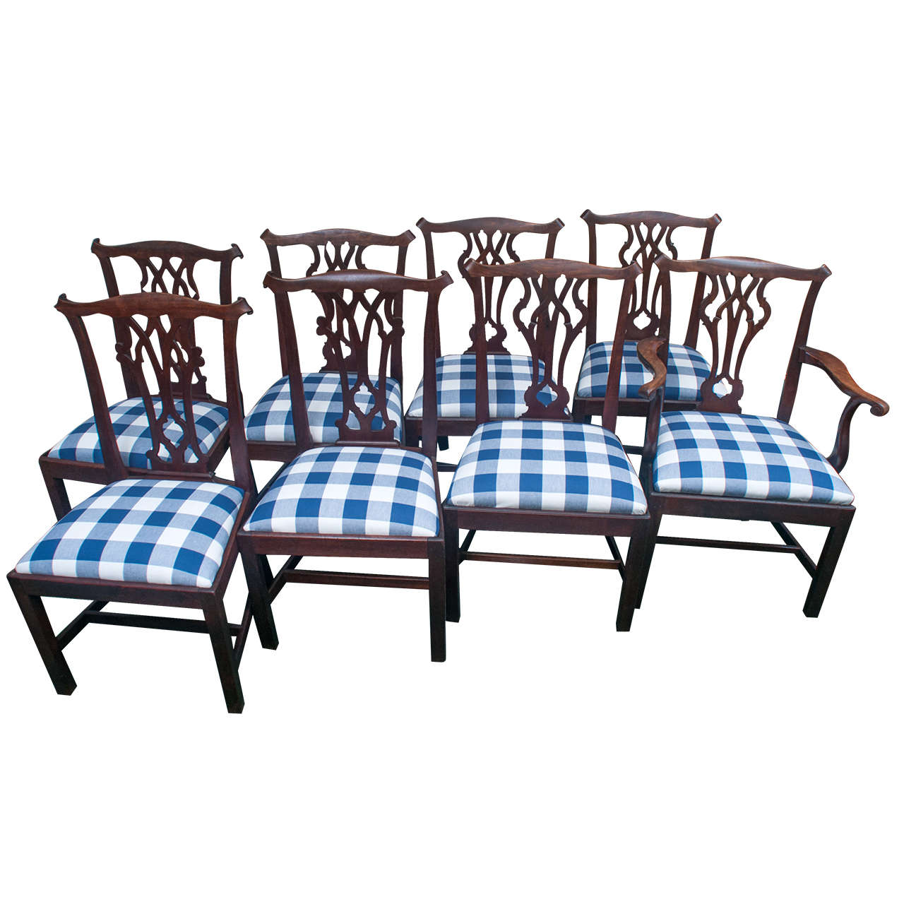 assembled set of country chippendale chairs at 1stdibs. Black Bedroom Furniture Sets. Home Design Ideas