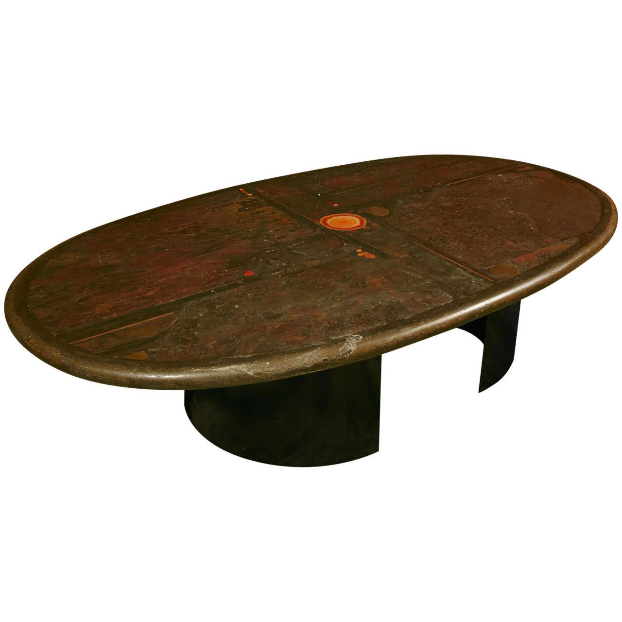Very Rare Oval Large Coffee Table By Paul Kingma