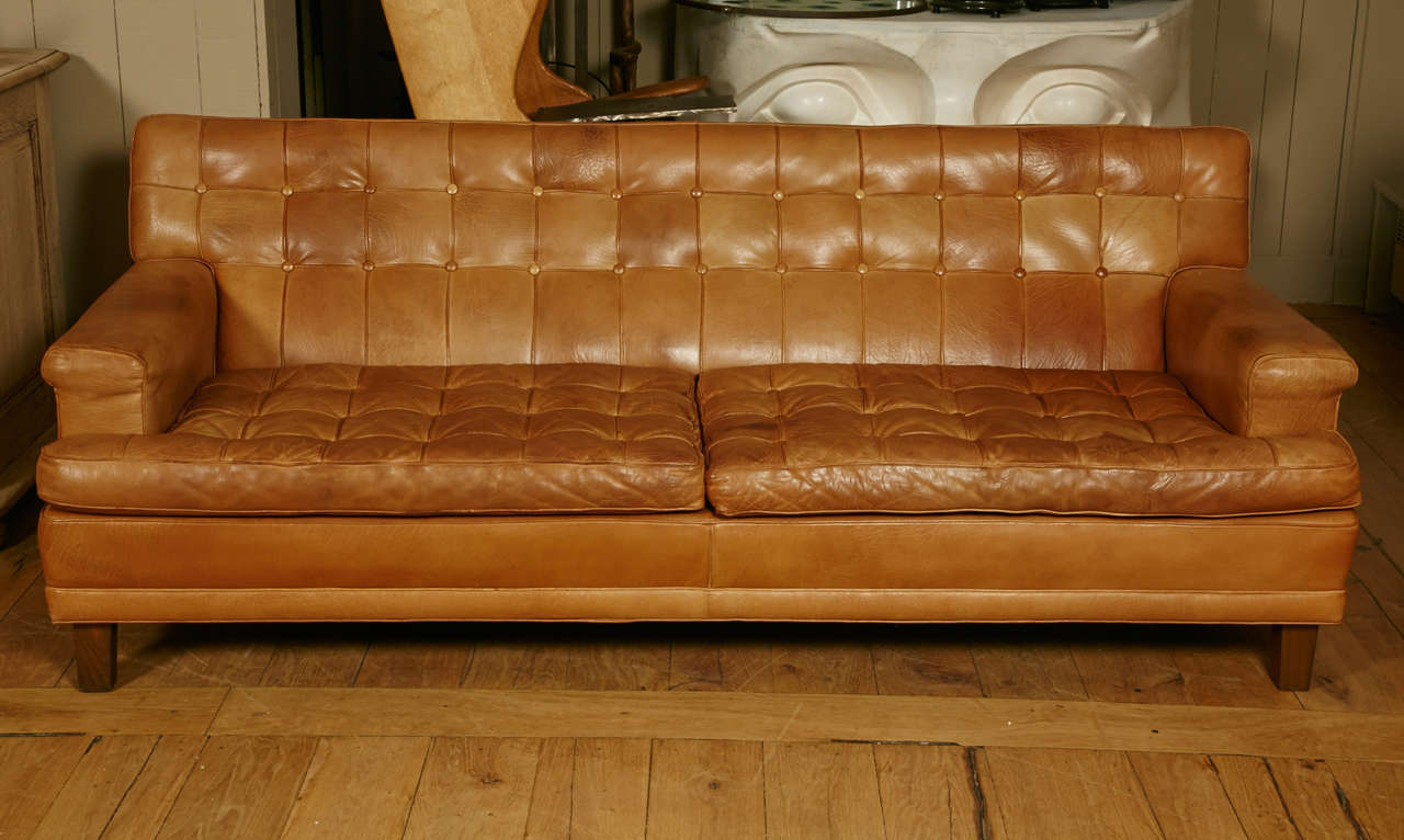 mexico three seat sofa and lounge chair in cognac leather. Black Bedroom Furniture Sets. Home Design Ideas