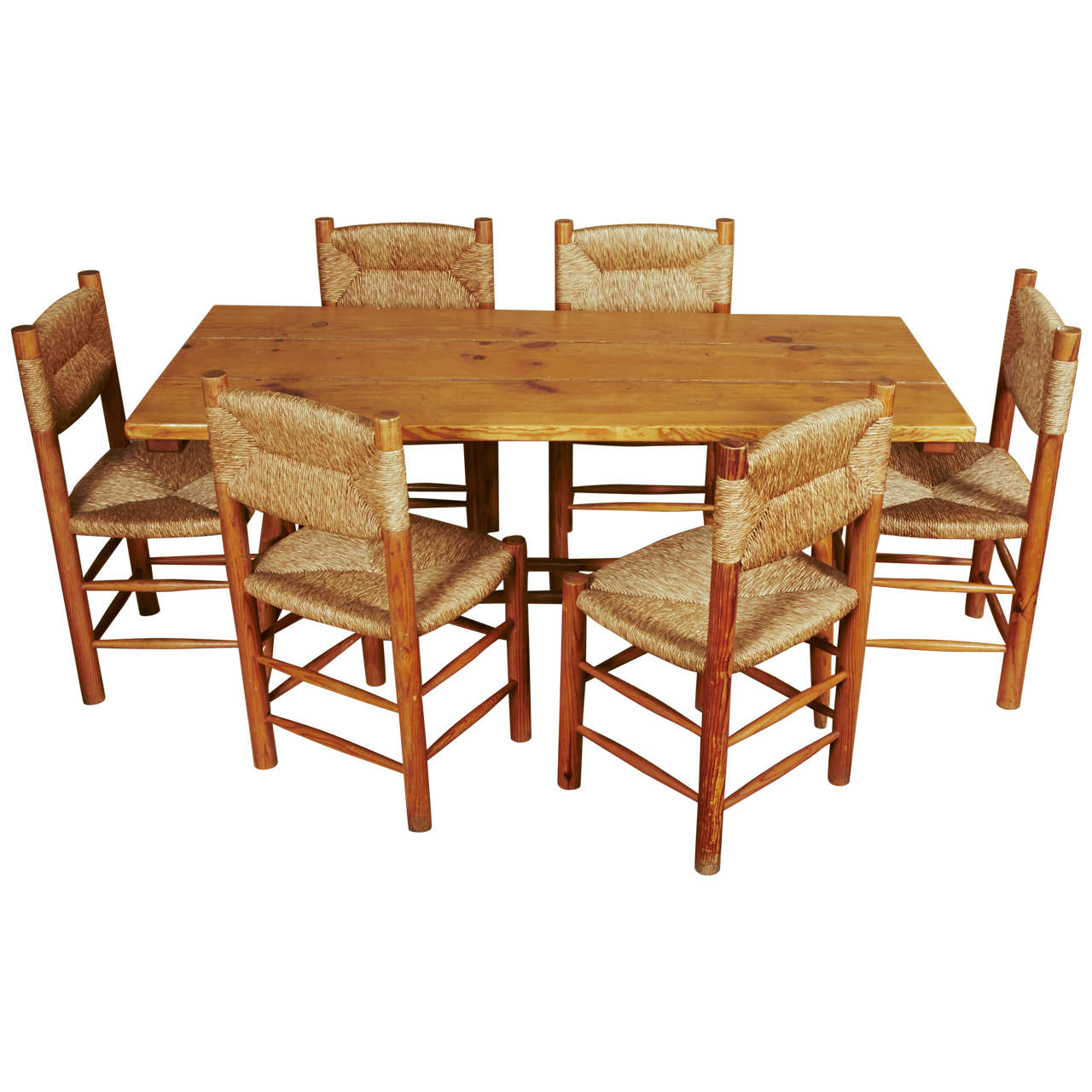 charlotte perriand dining set with six chairs at 1stdibs