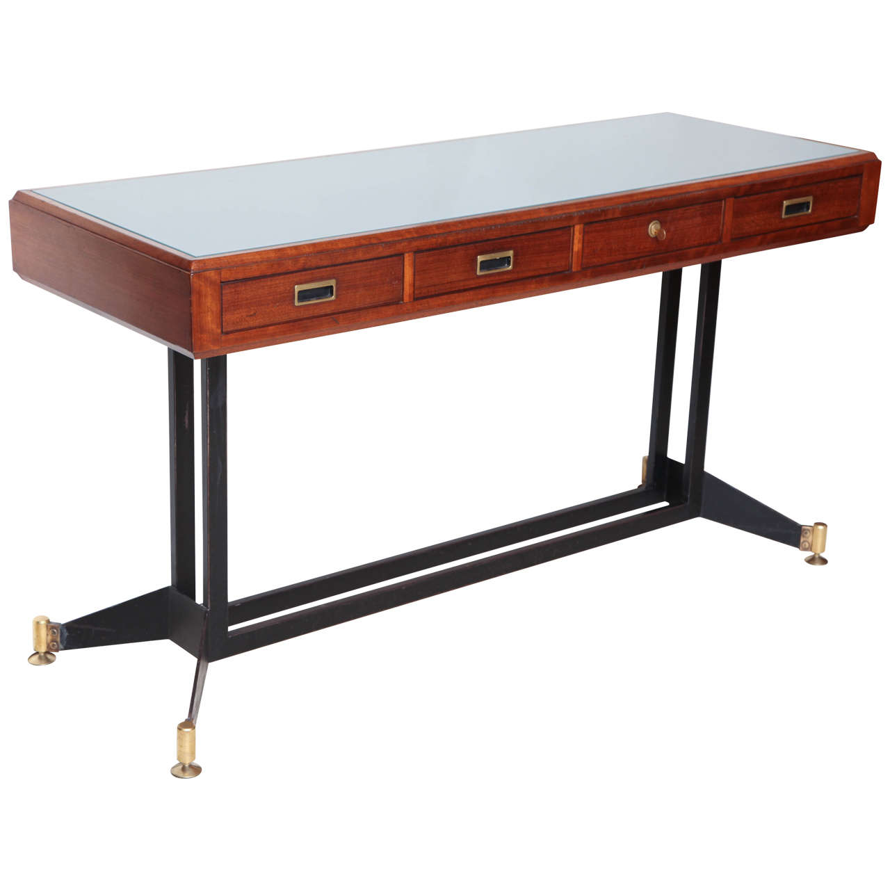 Italian mid century modern walnut console table with frosted glass top at 1stdibs Frosted glass furniture