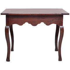 18th Century French Oak Side Table with Shaped Apron and Drawer
