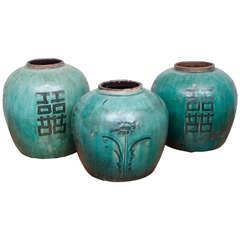 Chinese Green Glazed Ceramic Jars, 19th Century
