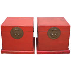 Pair of Chinese Red Lacquer Chests, 19th Century