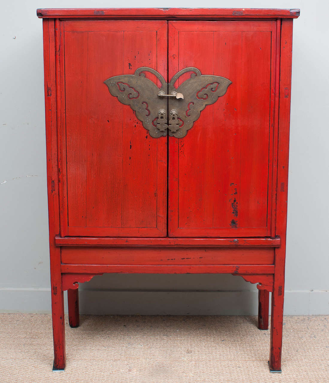 Red Lacquer Butterfly Cabinet, 19th Century at 1stdibs
