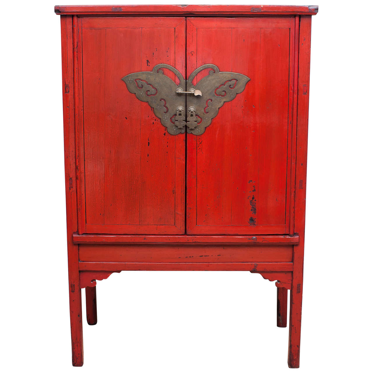Red lacquer butterfly cabinet 19th century for sale at for Red chinese furniture