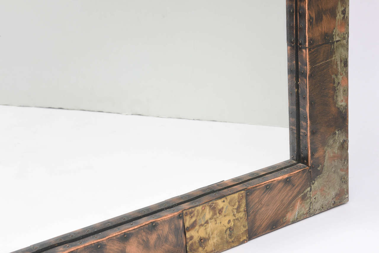 Patinated Paul Evans Mirror For Sale