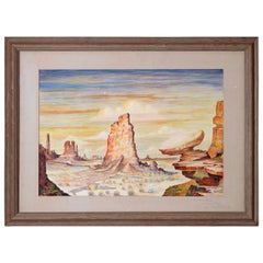 Oil on Board Painting of the Great Organ, Monument Valley, A. Cogswell 1948