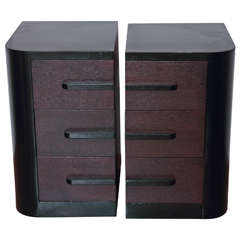 Streamline Pair of Modernage Art Deco Bookend Matched Ebonized Nightstands