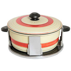 Art Deco Skyscraper Design Covered Casserole with Original Machine Age Stand