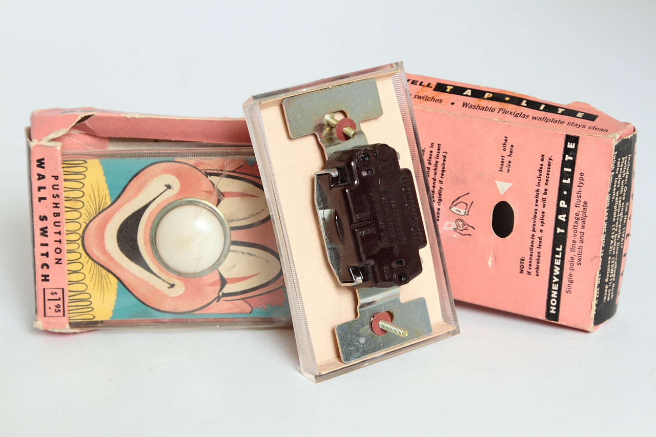 Whimsical Henry Dreyfuss Designed Honeywell Tap Lite Wall Switch/Covers In Good Condition For Sale In Dallas, TX