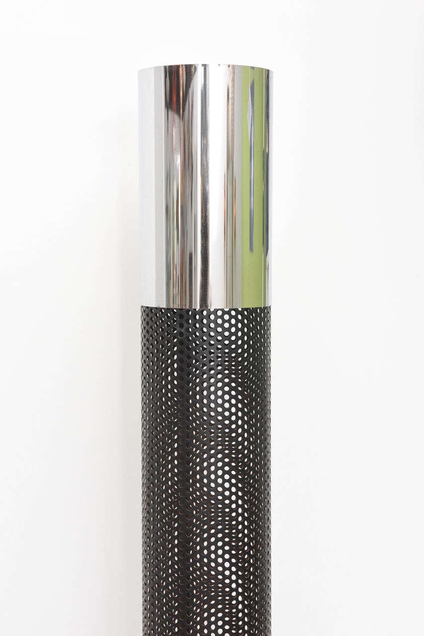 Modern Retro Tubular Chrome and Black Floor Lamp For Sale