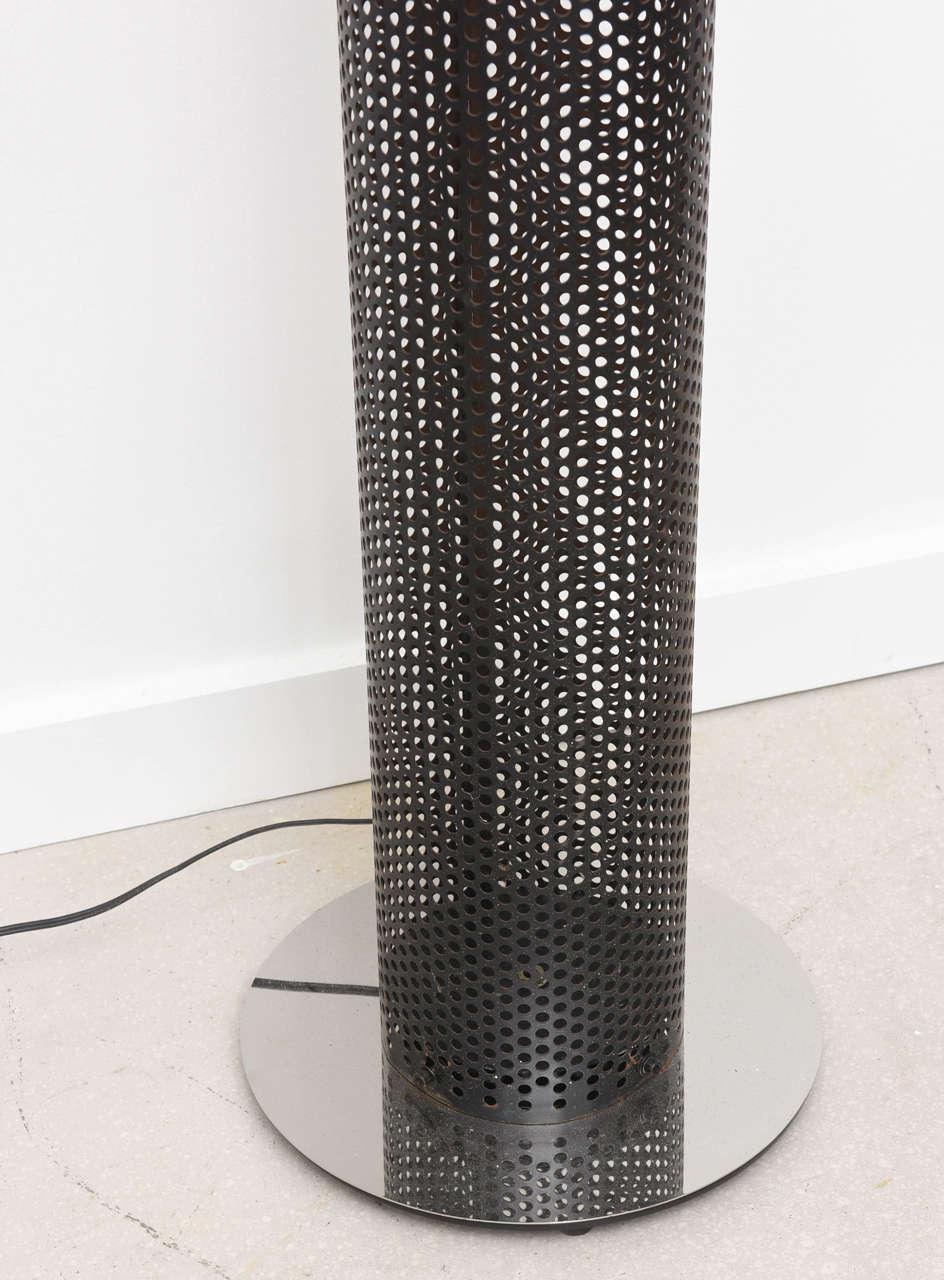 North American Retro Tubular Chrome and Black Floor Lamp For Sale