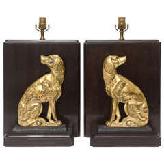 Pair of Bookend Style Lamps with Hunting Dog Motif