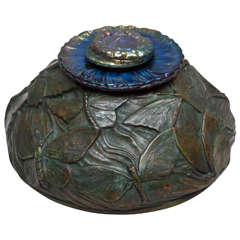 Rare Tiffany Studios Inkwell with Butterflies and Blue Glass Insert