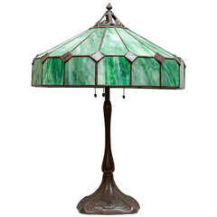 """Arts and Crafts Leaded Glass Table Lamp Fully Signed """"Handel"""""""