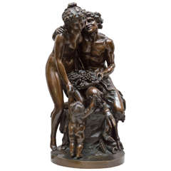 Bronze Group of a Satyr, a Nude Woman and a Putto by Clodion