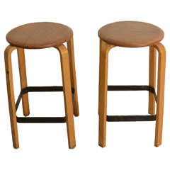 Pair of Swedish Bentwood Stools
