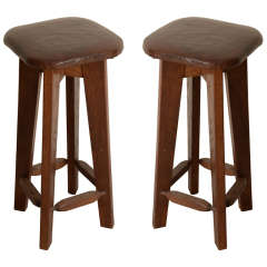 Pair of Oak Stools with Leather Upholstery