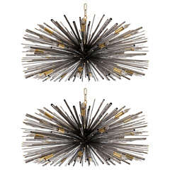 "Desiogners original ""Supernova"" Chandelier by Lou Blass in Textured Steel"