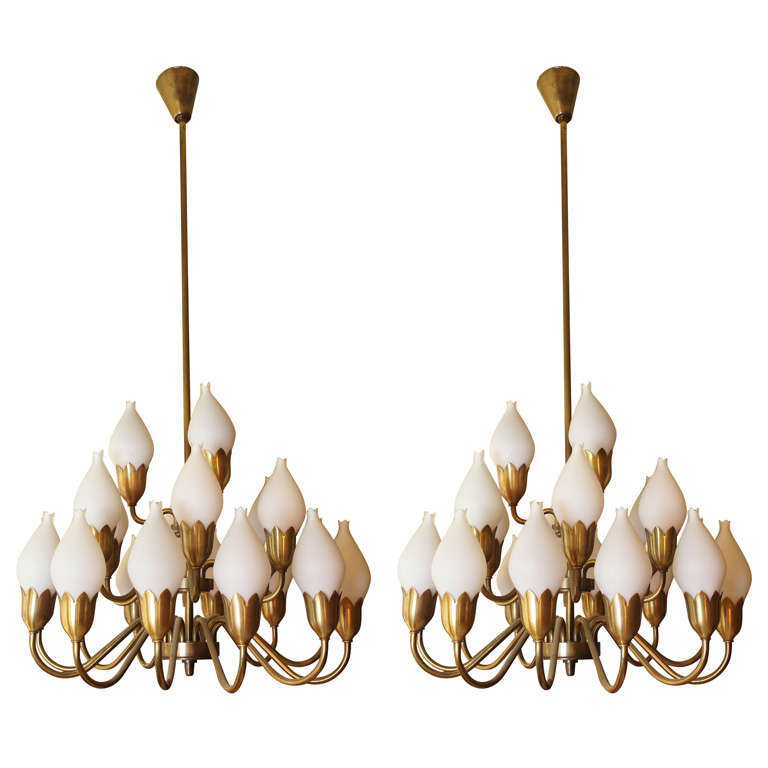 Pair of tulip chandeliers by fog and mrup at 1stdibs pair of tulip chandeliers by fog mrup for sale aloadofball Images