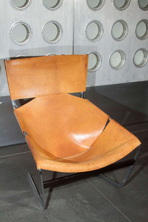 Pierre Paulin Artifort chair in natural leather.
