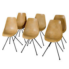 Set of Six Moulded Chairs