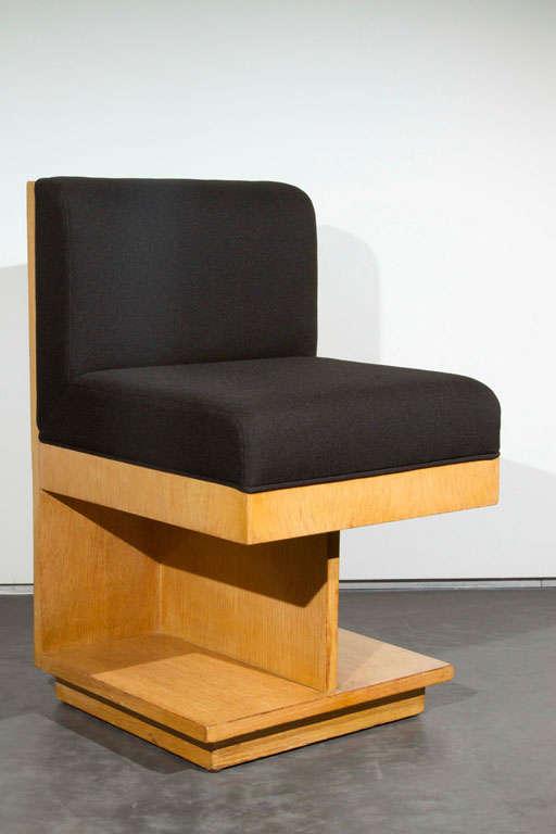1940s architectural wood chair by Maximilian Karp, oak veneer chair, 1949.