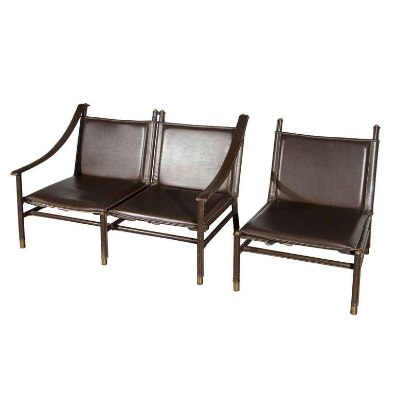 jacques adnet brown leather salon set at 1stdibs. Black Bedroom Furniture Sets. Home Design Ideas