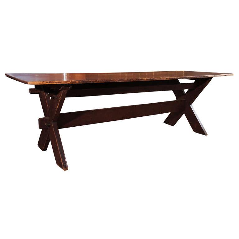 Large American Sawbuck Table At 1stdibs