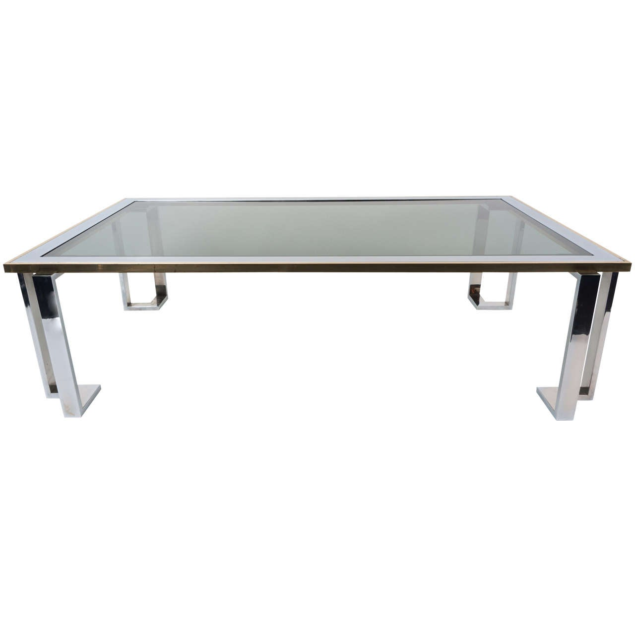 Romeo Rega Glass And Chrome Coffee Table With Smoked Glass At 1stdibs