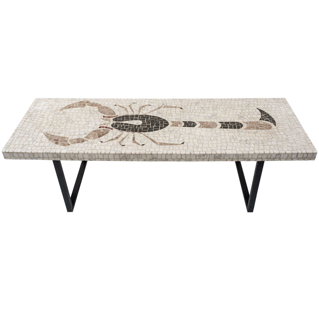 Nail Marble Top Coffee Table: Mosaic Marble Top Coffee Table Inset With Design Of