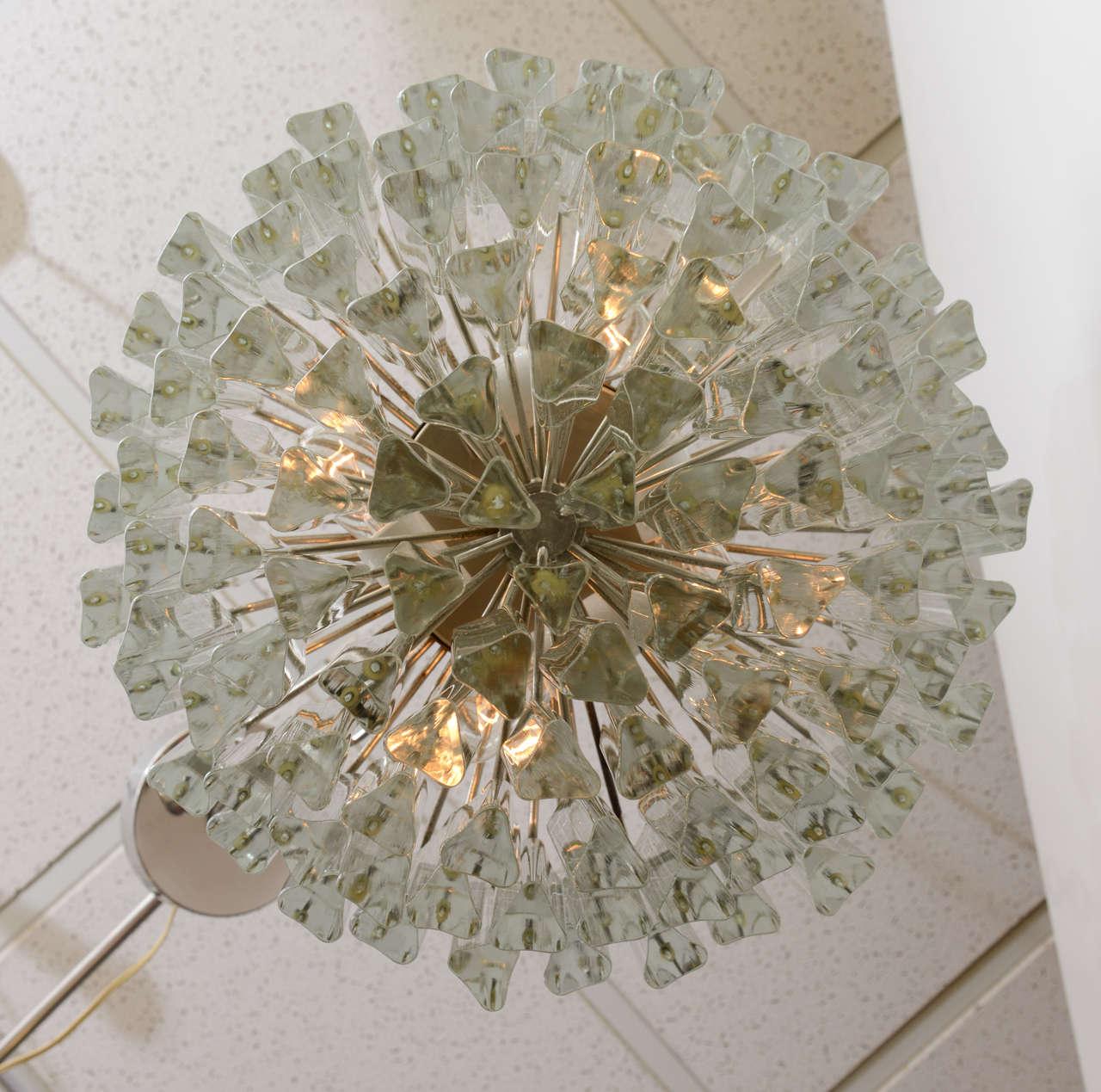 Italian Lush Camer Glass Chandelier with Venini Triedri Crystals For Sale