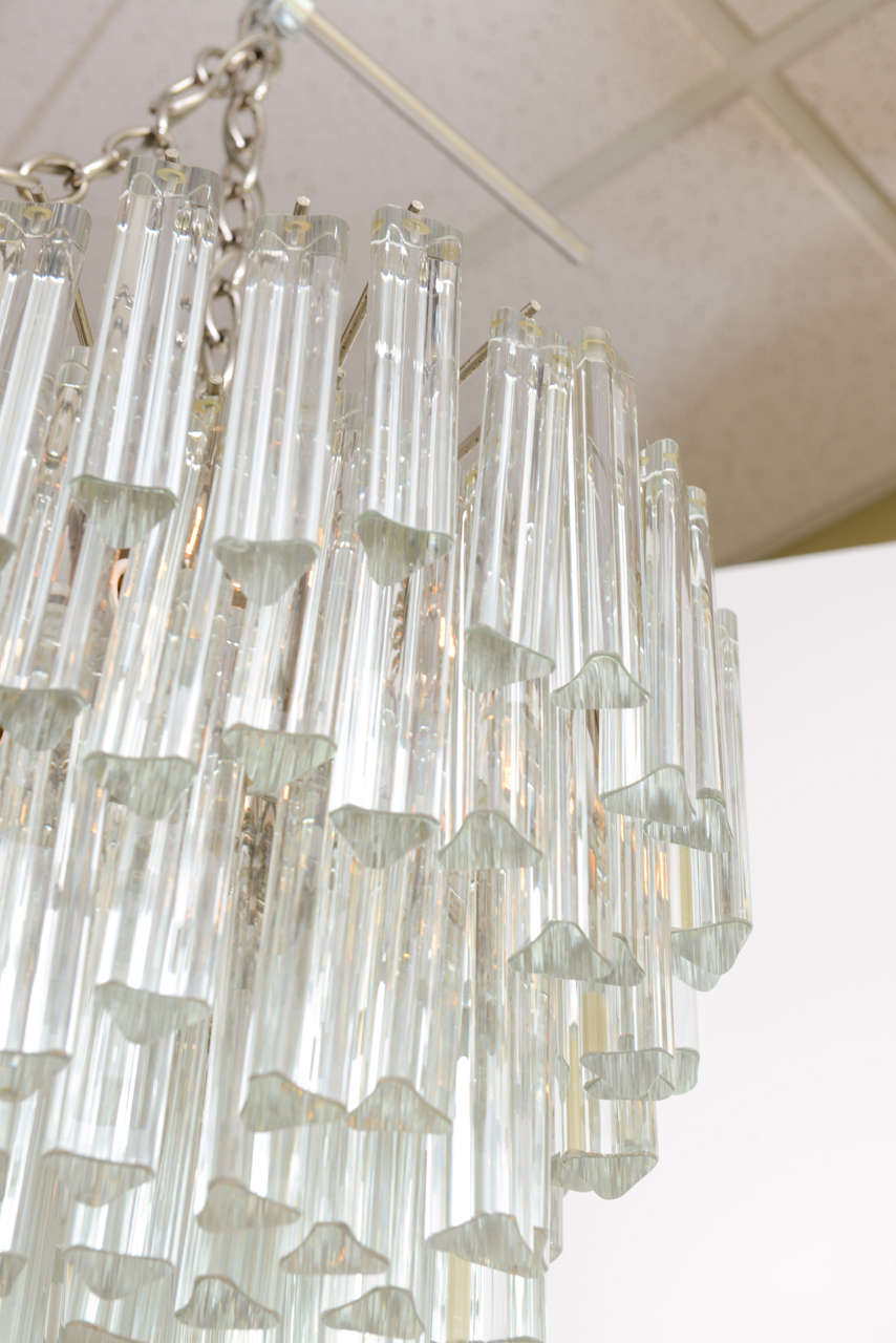 Mid-20th Century Lush Camer Glass Chandelier with Venini Triedri Crystals For Sale