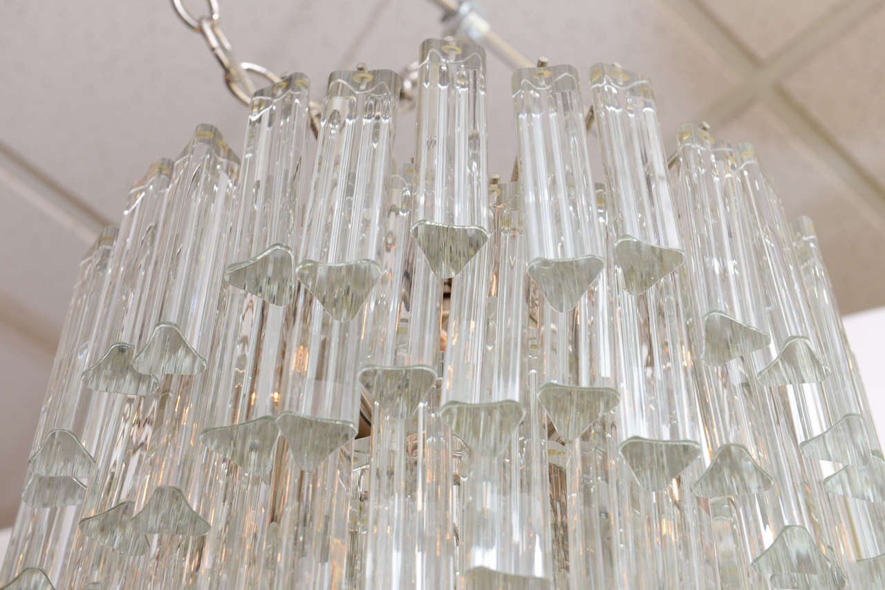 Lush Camer Glass Chandelier with Venini Triedri Crystals For Sale 1